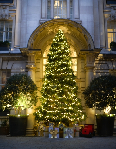 Christmas tree at the entrance of the Rosewood hotel in Holborn, London